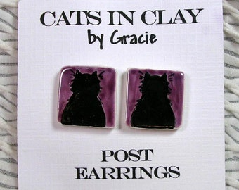 Black Cat Purple Post Earrings Handmade In Kiln Fired Clay by Gracie