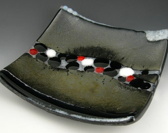 Colorful Square Fused Glass Sushi Plate Dish in Metallic Gold Copper Silver, Red, Black and White