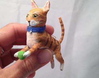 Cat Christmas ornament spun cotton orange tabby by Maria Paula