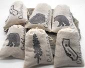 Lavender Sachets in California Theme - 6 pack, Shower Favor, Wedding Favor, Teacher Gift, Hostess Gift, Redwood, Black Bear, California