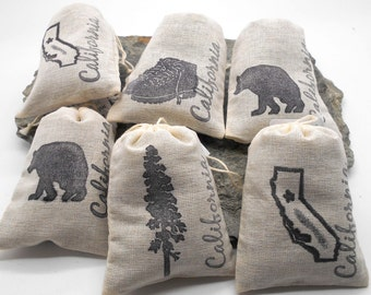 Lavender Sachets in California Theme - 6 pack, Shower Favor, Wedding Favor, Teacher Gift, Hostess Gift, Redwood, Black Bear, California