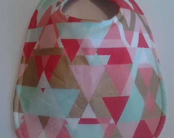 Baby Bib, Dribble Bib, Handmade Bib, Drool Bib, Aqua Gold Triangles