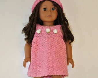Instant Download - PDF Doll Crochet Pattern 36 - Dress and Hat for American Girl Doll or similar 18 inch Doll
