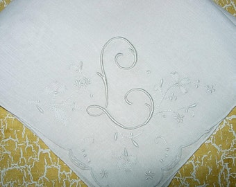 Vintage White Hanky With a White Initial L in one Corner- Handkerchief Hankie