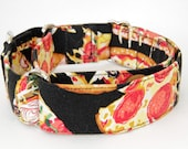 Pizza Dog Collar - Martingale & Buckle 3/4 - 2 Inch Width - XS - XXL