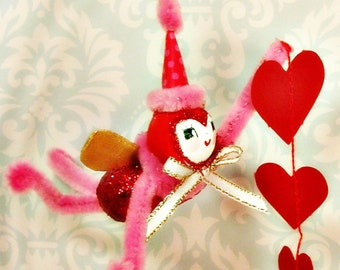 Love bug Valentine ornament pink red ooak art doll Valentine decor token of love party decor red hearts toni Kelly original vintage retro