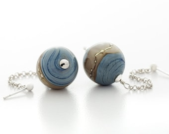 blue dangle earrings, handmade lampwork glass, fine silver and sterling silver, artisan jewelry