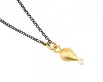 Plumb Bob Diamond 18 Karat Gold Pendant on Sterling Silver Chain Recycled Metal