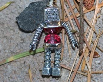 Robot Bead Cap  Sterling Silver Handmade Charm