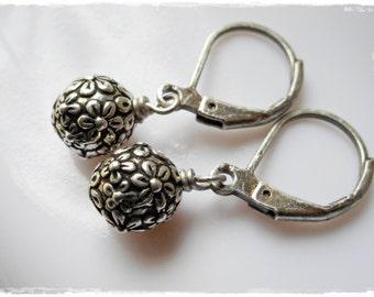 Silver flower earrings, little earrings, classic flourish drop earrings antiqued silver dangle earrings, small ball earring, flowers, dainty