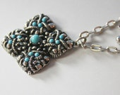 Avon Necklace Antique Silver Tone with Turquoise Settings Pendent 25.5 inch Chain 1.5Inch Square 1970s No. N0004