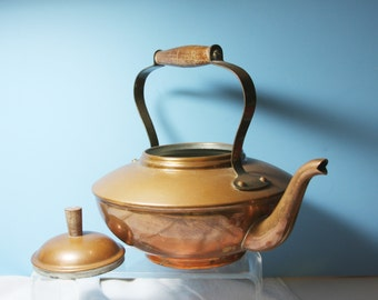 Vintage CopperTea Kettle  1950s Country, Cottage, Floral Arrangements, Watering herbs, Cabin Style