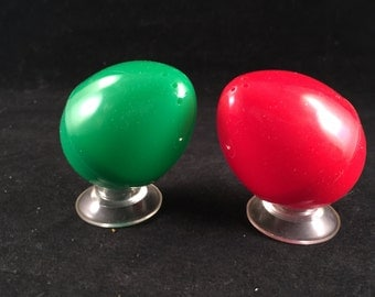 Set of Vintage Plastic Red and Green Easter Egg Salt and Pepper Shakers