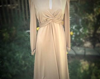 Vintage 1970s Era Brown Evening Dress with Beading at Collar and Sleeves
