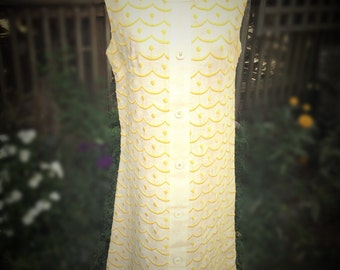 Vintage Mod Off White and Yellow Linen Sleeveless Dress