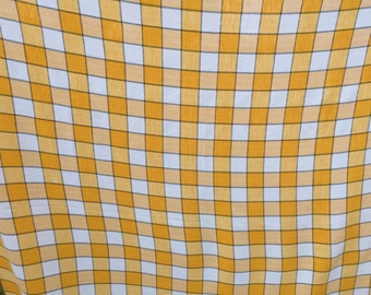 Vintage Yellow and White Check Tablecloth