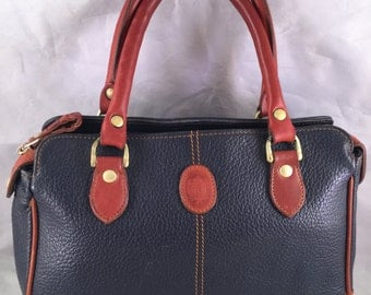 Vintage Blue and Caramel Brown All Weather Leather Liz Claiborne Purse/Handbag with Double Handles