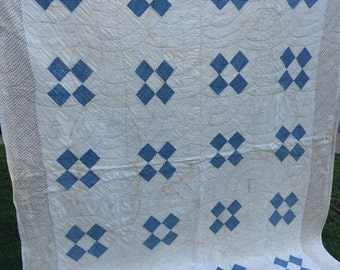 Vintage Hand Quilted Four Patch Cutter Quilt with Blue Calico Fabric