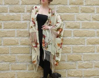 Floral kimono duster, Floral kimono, Fringe kimono jacket, boho kimono, kimono jacket, floral duster jacket, tassel kimono, fringe jacket