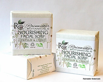 Nourishing Facial Soap with geranium and carrot seed oil Palm Free