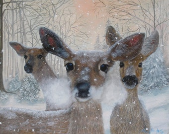 Deer in the Snowy Woods 16 x 20 Oil Painting