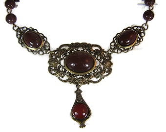 Art Deco Inspired Antiqued Brass  Statement Necklace