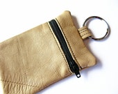 Change Purse - Recycled Leather, Keychain, Pouch, Wallet, beige, black