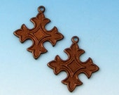 Small Cross Charm, Vintage Patina, Trinity Brass, 2 Pc. VP94
