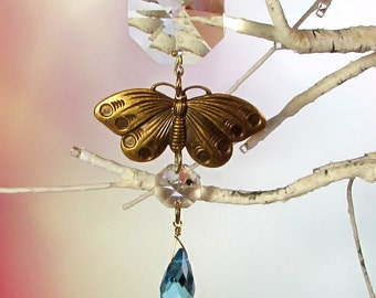Butterfly Aqua Crystal Sun Catcher & Christmas Ornament
