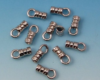 Cord End With Loop, 2 MM, Rhodium, 12 Pieces AS358