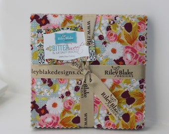 SALE 5 inch charm fabric squares BITTERSWEET by Riley Blake from Sue Daley