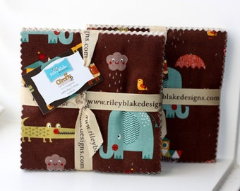 SALE 2 Packs - 5 inch charm fabric squares GIRAFFE CROSSING 2 by Riley Blake