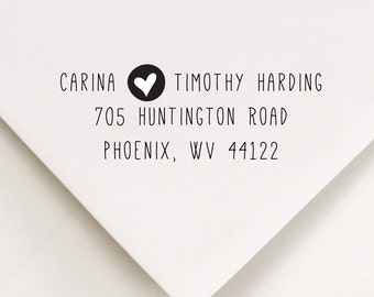 Address Stamp - handwritten syle - rubber stamp return address on wedding invitations - Carina and Timothy Design
