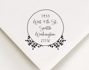 Return Address Stamp, Address Stamp, Laurel Stamp (525)