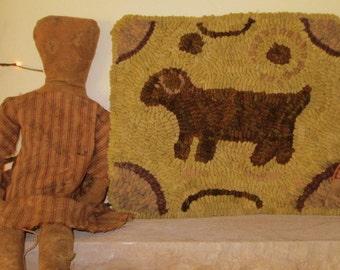 Primitive Antique Dog Hooked Rug