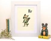 R for Raccoon -4x6-Alphabet art - Alphabet print - ABC wall art - ABC print - Nursery art - Nursery decor - Kids room decor - Children's art