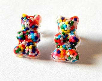 Gummy Bear Earrings, Sprinkles Studs, Resin Candy Posts, Kawaii Mini Food Jewelry