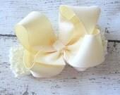 """Cream Ivory Grosgrain 4"""" Hair Bow with Headband"""