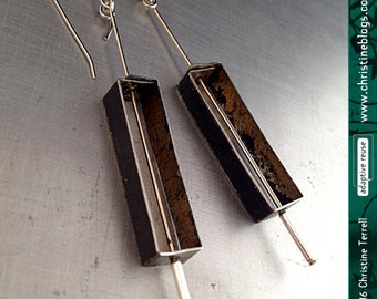 Rectangle Outlines--Upcycled Tin Earrings