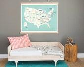 United States Wall Map, Canvas Tapestry, 36x24, USA, Nursery Wall Art, Gender Neutral Kids Decor, Playroom,Travel Nurser