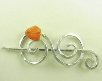 Silver Double Spiral Shawl Pin/Brooch/Clip with Carnelian Nugget