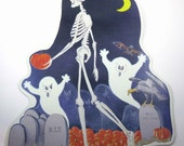 Vintage Die Cut Halloween Decoration of Skeleton Ghosts Bat Vulture Pumpkins in Cemetary with Gravestones