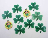 Vintage Unused St. Patrick's Day Leprechaun and Shamrock Gummed Seals Stickers or Labels Set of 10