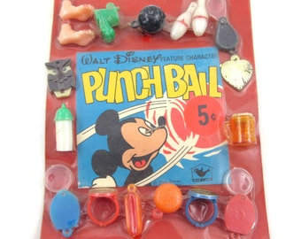 Vintage Walt Disney Feature Character Assorted Plastic Gumball Machine Charms and Rings on 5 Cent Header Display Card Feet Owl Hot Dog Peace