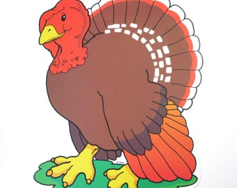 Vintage Turkey Die Cut Cardboard Thanksgiving Decoration by Trend