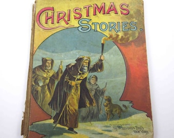 Christmas Stories Vintage Late 1800s Children's Victorian Book by McLoughlin Bros Robins Christmas Eve, Hector the Dog, Frisky the Squirrel