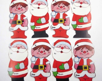 Set of 8 Vintage Unused Christmas Tags or Cards with Santas and Elves
