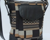 LARGE SHOULDER BAG  Plaid Canvas With Black
