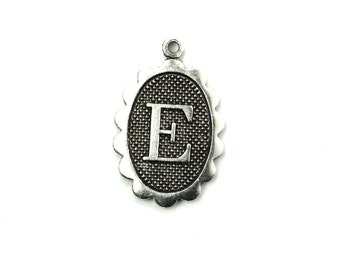 Letter E Initial Charm Scalloped Oval Silver Ox (2) CP314