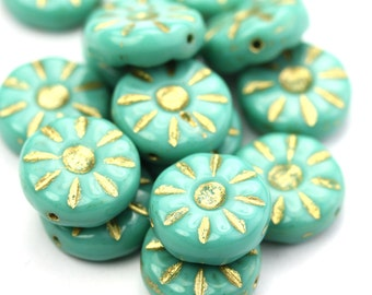 Czech Glass Bead Flower Daisy 12mm Turquoise and Gold (10) CZP948